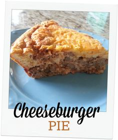"""Cheeseburger Pie (S) - oven to 375°. Cheeseburger Layer 1lb ground beef 1 onion,  5 slices bacon, chopped 1 t mustard 1 T sf ketchup 2 t Worcestershire  1/2 t pepper 1 C cheese. Brown beef, onion, and bacon in large skillet, drain well.  Put in lightly greased 9"""" pie plate.  Add cheddar cheese. 1/3 C almond flour 6 eggs 1 C heavy cream 1 C cheddar cheese Combine w/out cheese pour over beef and bake for 25 min./+cheese and bake for 10 min more.   Let sit 5 minutes before slicing and serving."""