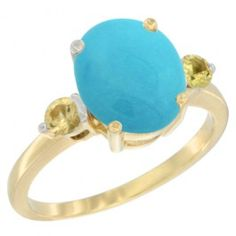 14K Yellow Gold Natural Turquoise Ring Oval 10x8mm Yellow Sapphire Accent, sizes 5 - 10