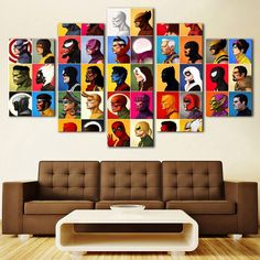 Large Framed Comic Book Characters 5 Piece Canvas Print Wall Art Home Decor - Medium / Unframed