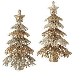 """6"""" Glittered Tree Ornaments - Set of 2 -  Price : $8.95 http://www.perfectlyfestive.com/RAZ-Imports-Glittered-Tree-Ornaments/dp/B00MN4VVX6"""