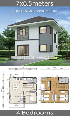 20 Front Design Of Small House Ground Floor Front Design Of Small House Ground Floor - House Plans with 4 bedrooms 4 Bedroom Home Design Plan 7 Small Home Plans with 4 bedroom. Simple House Plans, Simple House Design, Dream House Plans, Modern House Design, House Floor Plans, Home Design Floor Plans, Home Layout Plans, Small Contemporary House Plans, Dream Houses