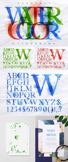 Alphabet watercolor Graphics Alphabet set drawn watercolor blots and stains with a spray blue, red, green color. Easily editable by Anna Business Illustration, Pencil Illustration, Digital Illustration, Graphic Illustration, Watercolor Logo, Watercolor And Ink, Graffiti Painting, Creative Sketches, Green Colors