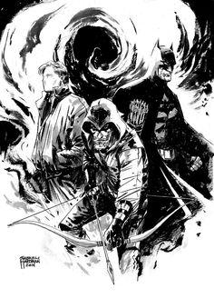 The Question, Green Arrow & Batman - Gabriel Hardman Comic Book Artists, Comic Book Heroes, Comic Artist, Comic Books Art, Dc Comics Art, Fun Comics, Marvel Comics, Arrow Black Canary, Character