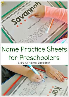 Name Practice Sheets for Preschoolers - This simple preschool activity teaches name recognition and spelling. This makes life so much easier for both kids and kindergarten teachers. preschool Name Practice Sheets for Learning to Spell Names in Preschool Preschool Names, Preschool Writing, Preschool Learning Activities, Preschool Lessons, Teaching Kids, Preschool Sign In Ideas, Preschool Activity Sheets, Name Writing Activities, Learning Games For Preschoolers