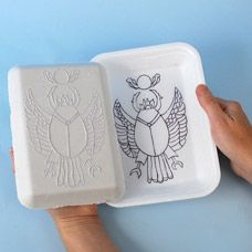 neat technique: score the bottom of a Styrofoam tray with a pen or pencil, then cast plaster. The plaster will come out raised.