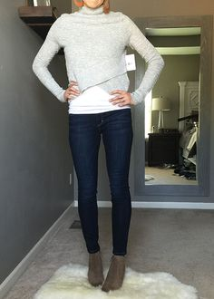 adorable sweater and denim outfit idea