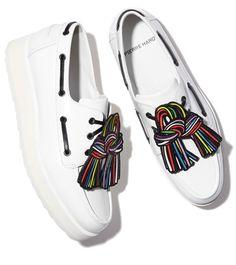 Deck shoes, Pierre Hardy's platform leather version.