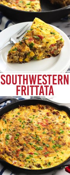 This southwestern frittata recipe is loaded with potato, beef, rice, cheese, veggies, and more for a hearty breakfast, brunch, or anytime meal.