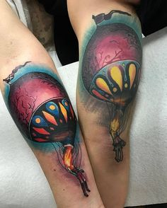 His And Her Hot Air Balloons by @robiscoffee at Infamous Tattoo in Pico Rivera California. #hisandhers #matchingtattoos #hotairballoon #hotairballoondeaths #robiscoffee #infamoustattoo #picorivera #california #tattoo #tattoos #tattoosnob