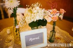 more reception table decor, DIY reserved signs