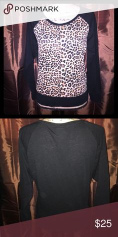 💋PINK VICTORIA SECRET💋 Very cute! Black/Brown in color. Sz Small. No defects or flaws. True to size. PINK Victoria's Secret Tops Tees - Long Sleeve