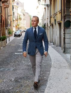 Lighter blue, grey trousers  Invest in a light odd trouser
