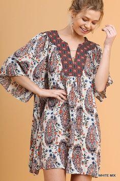 e931572689a Umgee Paisley Print Full Swing Loose Fit Boho Flowy Dress Tunic S M L Boho  Outfits