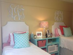 I love how the side table is big enough for both girls and its a mirror so it will reflect the lamps light more