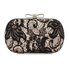 Decorative Lace Bowknot Two Way Box Clutch (354.265 IDR) ❤ liked on Polyvore featuring bags, handbags, clutches, lace clutches, hard clutch, lace handbag, hardcase clutch and lace purse
