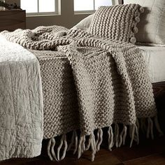 Would need a big pair of knitting needles for this one! loving this chunky knit throw! Home Bedroom, Bedroom Decor, Bedrooms, Master Bedroom, Chunky Knit Throw, Chunky Crochet, Crochet Top, Sofa Throw, Cushions