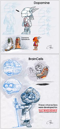 Dopamine and BrainCells by MickySketchBook.deviantart.com