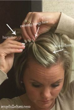 Twisting bangs instructions for short hairstyle.