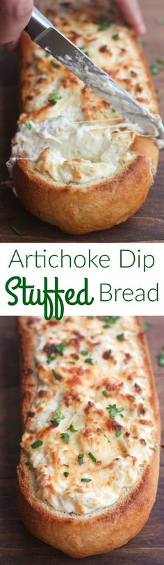 Artichoke Dip Stuffed Bread - our favorite hot artichoke dip recipe stuffed into a delicious crusty baguette. Makes a great, easy party appetizer!