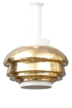 ALVAR AALTO, A PENDANT LAMP, No. A 335. Brass and white painted metal. Manufactured by Valaistustyö Ky. Height 42 cm.