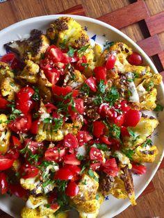 Turmeric Roasted Cauliflower With Lemon Tahini Sauce. Super easy Middle Eastern dish that is fast, vegetarian, and vegan.