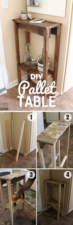 Plans of Woodworking Diy Projects - Check out how to build this easy DIY Pallet Table /istandarddesign/ Get A Lifetime Of Project Ideas & Inspiration! Diy Pallet Projects, Woodworking Projects Diy, Home Projects, Craft Projects, Pallet Ideas, Pallet Designs, Pallet Crafts, Woodworking Furniture, Design Projects