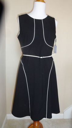 CALVIN KLEIN BLACK & WHITE PIPED BELTED FIT & FLARE COCKTAIL CAREER DRESS SZ- 12 #CalvinKlein #ALINE #Cocktail