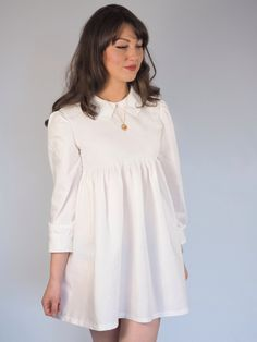 Image of Ivory white Peter Pan collar baby doll dress