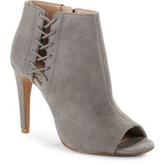 French Connection Suede Open Toe Stiletto Booties ($60) ❤ liked on Polyvore featuring shoes, boots, ankle booties, grey, suede ankle booties, gray boots, grey suede booties, suede booties and open toe lace up booties