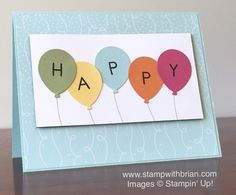 Back to Basics Alphabet, Balloon Bouquet punch, Stampin' Up!, Brian King, birthday card