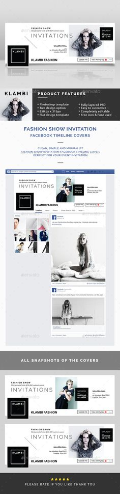 Fashion Show Invitation Facebook Timeline Covers — Photoshop PSD #agency #invitation • Available here → https://graphicriver.net/item/fashion-show-invitation-facebook-timeline-covers/10618337?ref=pxcr