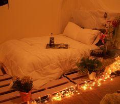 Pallet Bed Frame With Lights | pallet bed | Tumblr