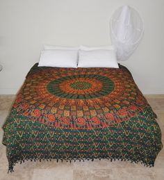 Green and Orange Floral Block Printed Throw with tassles