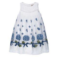 Dress Ortensie Fiorite (b.co-blu) - Girl - Spring/Summer 2013 - - Girl fashion clothing Girl fashion baby - Monnalisa Dreams
