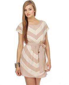 Caramel Macchiato Taupe Striped Dress $52.00 - Lulu's