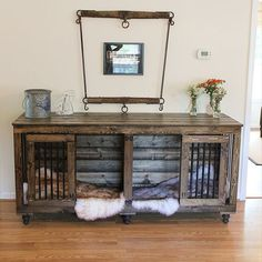 Dog Crate - Beautiful Indoor Wooden Dog Kennels By BB Kustom Kennels Wooden Dog Crate, Wooden Dog Kennels, Custom Dog Kennel, Diy Dog Crate, Dog Crate Furniture, Furniture Dog Kennel, Dog Cages, Dog Rooms, Dog Houses