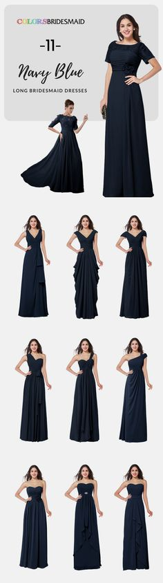 Long bridesmaid dresses in navy blue color in chiffon fabric looks wonderful and wears comfortable. The styles of short-sleeves, strapless, one-shoulder and V-neckline can be custom made to all sizes you like. These cheap bridesmaid dresses are made with great quality.