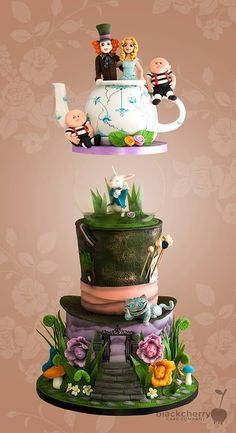 This Terrific Alice In Wonderland Wedding Cake was made by Little Cherry Cake Company. The top layer of this cake is a blue and white teapot made of cake. The bride and groom figures dressed as the Mad Hatter and Alice are at the top of the cake in the. Crazy Cakes, Fancy Cakes, Gravity Defying Cake, Gravity Cake, Beautiful Cakes, Amazing Cakes, Alice In Wonderland Wedding Cake, Fantasy Cake, Cherry Cake