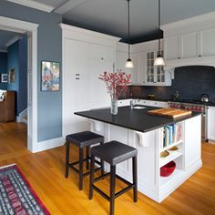 Kitchen Design Ideas, Pictures, Remodels and Decor :: White Kitchen with Slate Blue Walls