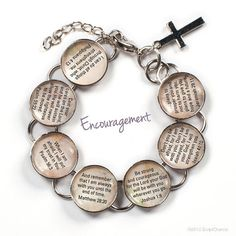 "Encouragement Scripture Girls Bible Verse Charm Bracelet, 6-7"""