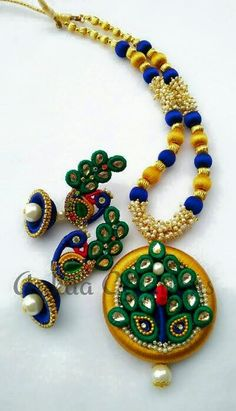 To order, pls what's app on 9704084116 Silk Thread Jhumkas, Silk Thread Bangles Design, Silk Thread Necklace, Thread Jewellery, Quilling, Ribbon Jewelry, Paper Jewelry, Indian Wedding Jewelry, Unique Earrings