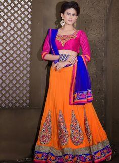 Splendorous Orange Lehenga Choli #lehnga #wedding #bridal #shaadi #women #bride #LehengaCholi #ethnic #wear #desiwedding #asianclothes #bollywood #indian #trendz #indiantrendz
