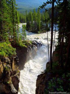 Sunwapta Falls in Jasper National Park Canada