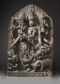 India, Karnataka Durga Slaying the Buffalo Demon century Los Angeles County Museum of Art Sculpture Head, Stone Sculptures, Buddha Life, Nataraja, Cleveland Museum Of Art, Durga Goddess, Greek Art, Hindu Art, Demons