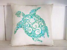 Turtle pillow beach decordecorative pillow by 112FarmhouseLayne