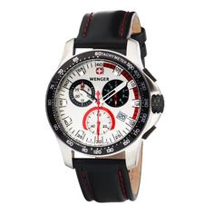 Wenger Men's 70791 Battalion Chrono Silver Dial Black Leather Watch | Your #1 Source for Watches and Accessories