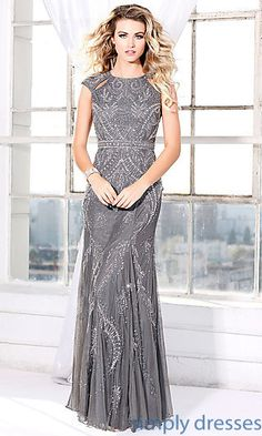 Taupe grey beaded formal dress