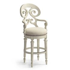 Influenced by Biedermeier design, the Louisa Barstool is simple and elegant. True to its inspiration, this handcrafted stool boasts generous proportions, a decorative back and an upholstered seat that make it comfortable and inviting. Crafted of hardwood and mahogany veneersFlat surfaces honor the grain of the woodFull-grain leather or fabric upholstery180-degree, lifetime-guaranteed return swivelArrives assembled