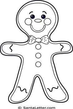 Old Man Gingerbread Boy Head Coloring Page