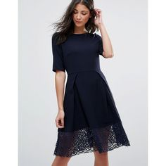Traffic People 3/4 Sleeve Lace Skater Dress (€71) ❤ liked on Polyvore featuring dresses, blue, round neck dress, 3/4 length sleeve dresses, lace skater dress, skater dress and three quarter sleeve lace dress